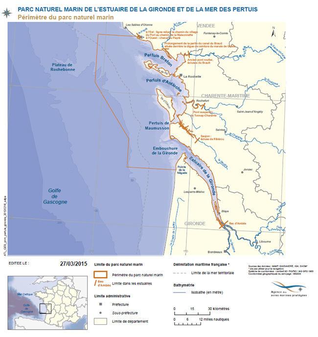 Carte périmètre parc marin Gironde Pertuis